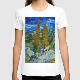 Vincent Van Gogh Beautiful Night Oil Painting Poplars at Saint-Rémy, October 1889 Landscape T-shirt