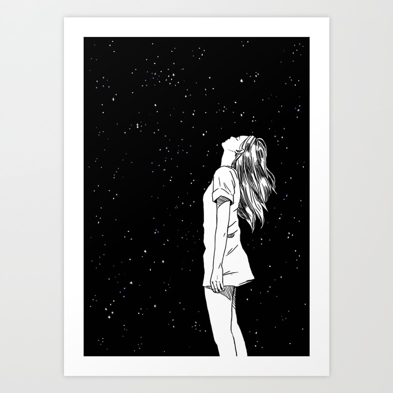 Girl And The Starry Sky Art Print By Cooico Society6