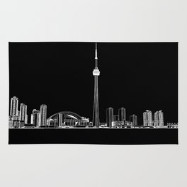 Toronto Skyline - White on Black Rug