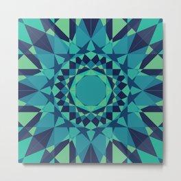 Teal, Navy, & Blue Radial Pattern Metal Print
