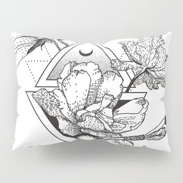 Alchemy symbol with moon and flowers Pillow Sham
