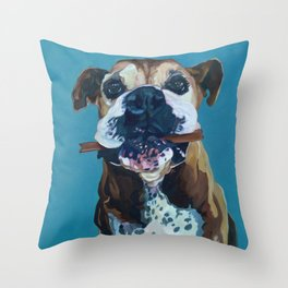 My Happy Abby Boxer Girl Portrait Throw Pillow