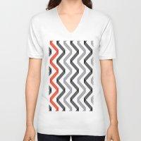 scandinavian V-neck T-shirts featuring Geometric Minimalist Pattern Scandinavian Design by Nordic Print Studio
