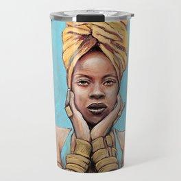 Erykah Badu Music Icon Portrait Painting RnB Tribute Art Travel Mug