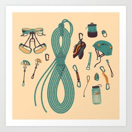 Climbing gear square Art Print