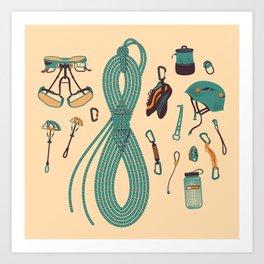 Climbing gear square Art Print
