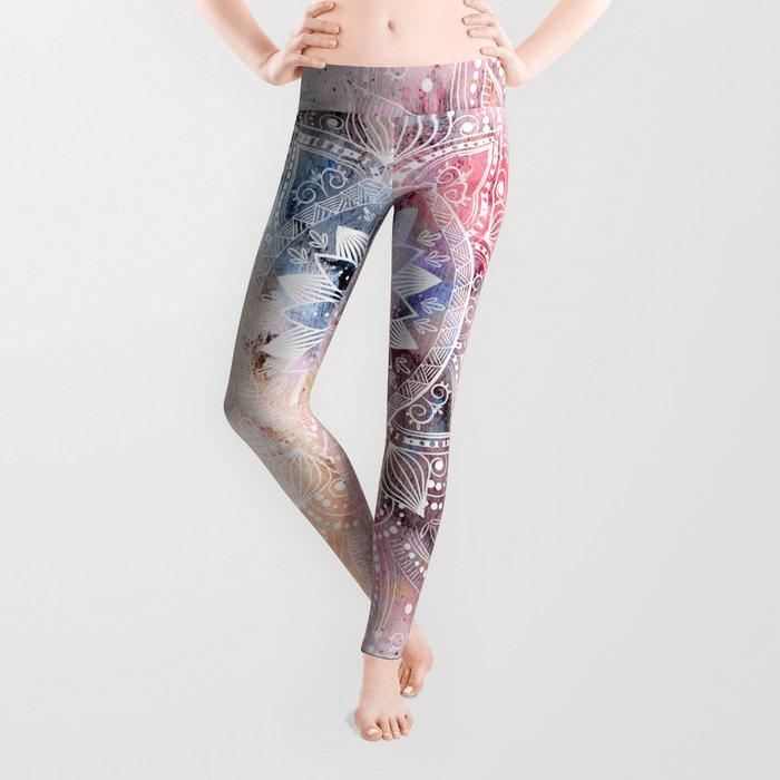 Whimsical white watercolor mandala design Leggings