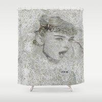 audrey hepburn Shower Curtains featuring Audrey Hepburn by SVA🌺Silvia Van