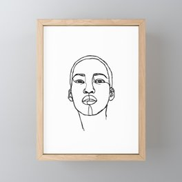 Woman's face line drawing illustration - Addie Framed Mini Art Print