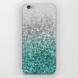 Silver Teal Ocean Glitter Glam #1 #shiny #decor #art #society6 iPhone Skin
