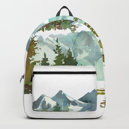 Forest green teal blue watercolor hand painted landscape Backpack
