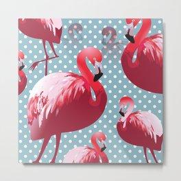 Watercolor Flamingo Pattern 4 Metal Print