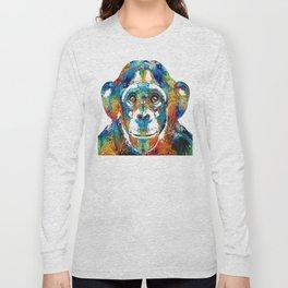 Colorful Chimp Art - Monkey Business - By Sharon Cummings Long Sleeve T-shirt
