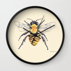Watercolor Bee Wall Clock