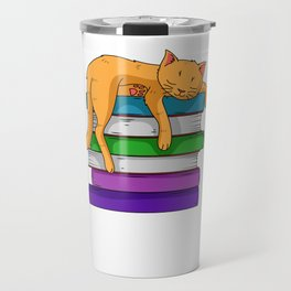 Reading Cat Lover Of Books Book Collector Bibliophile Travel Mug