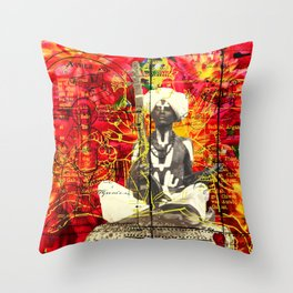 THE SITAR PLAYER Throw Pillow