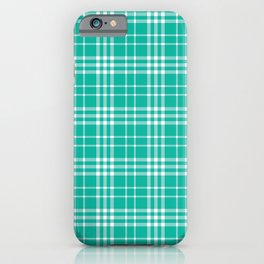 Green Teal White 90s Plaid iPhone Case