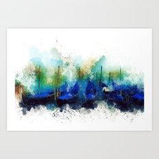 Venice Gondola painting Art Print