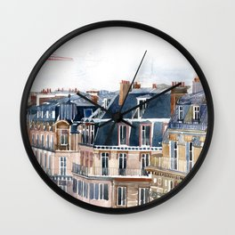 Roofs of Paris Wall Clock