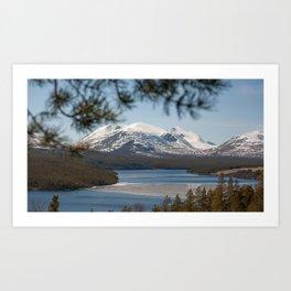 Icy river in Norway Art Print