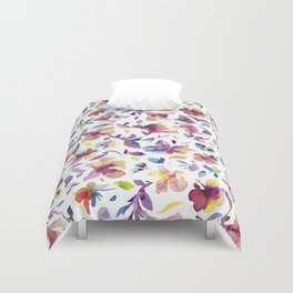 watery hibiscus flowers - Multicolored tropical pattern Duvet Cover