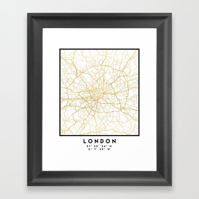 LONDON ENGLAND CITY STREET MAP ART Gerahmter Kunstdruck