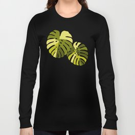 Monstera Leaves in Green Long Sleeve T-shirt