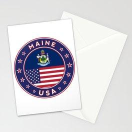 Maine, Maine t-shirt, Maine sticker, circle, Maine flag, white bg Stationery Cards