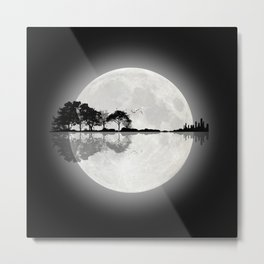 Moonlight Nature Guitar Metal Print