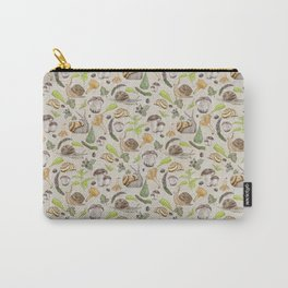 Woodland Snail in Watercolor Fungi Forest, Moss Green and Ochre Earth Animal Pattern Carry-All Pouch