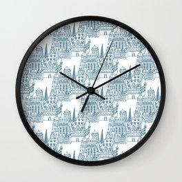 Buildings in Blue Wall Clock