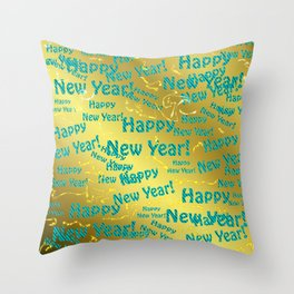 new blue Colorful design happy new year text in gold, festive, elegant gift for anyone in the family Throw Pillow