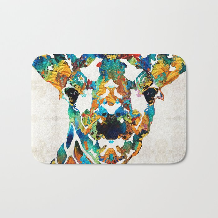 Colorful Giraffe Art - Curious - By Sharon Cummings Bath Mat