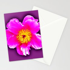 Pink flower on a wintry background Stationery Cards