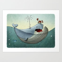 Whale and Crab  Art Print