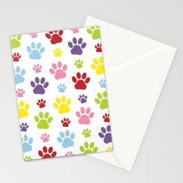 Colorful Paws, Paw Pattern, Dog Paws, Paw Prints Stationery Cards