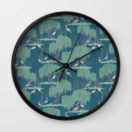 Herons Flocking Under Willow Trees Wall Clock