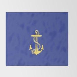 Modern royal blue sunshine yellow nautical anchor Throw Blanket