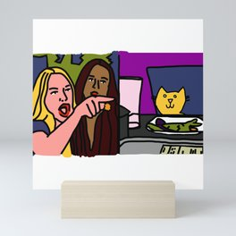 Woman yelling at cat Meme - Yellow Cat steps in for Smudge Mini Art Print