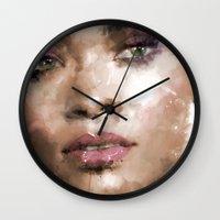 rihanna Wall Clocks featuring Rihanna by Dnzsea