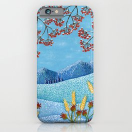 Winter Mountain Colorful Fields iPhone Case