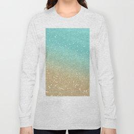 Sparkling Gold Aqua Teal Glitter Glam #1 #shiny #decor #society6 Long Sleeve T-shirt