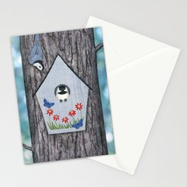 black capped chickadee, white breasted nuthatch, and bird house Stationery Cards