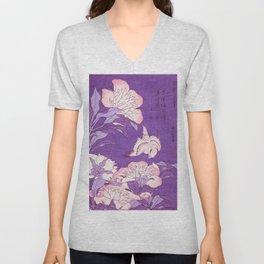 Japanese FLowers Purple Pink Unisex V-Neck