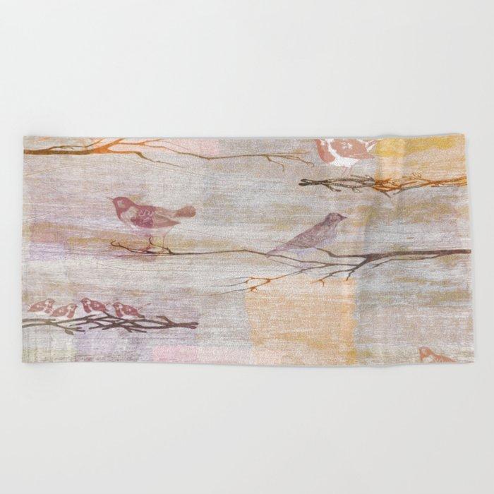 Golden Pink Birds Beach Towel