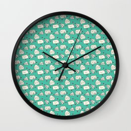Happy Mail Hearts on Teal Wall Clock