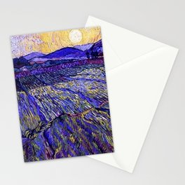 Lavender Fields with Rising Sun by Vincent van Gogh Stationery Cards