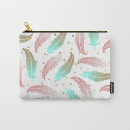 Bohemian pink teal gold glitter feathers polka dots Carry-All Pouch