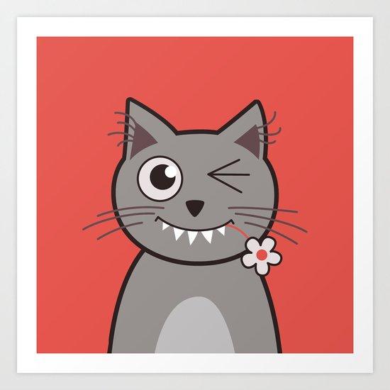 Winking Cartoon Kitty Cat Art Print