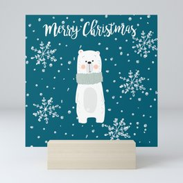 Cute Polar Bear Teal Mini Art Print